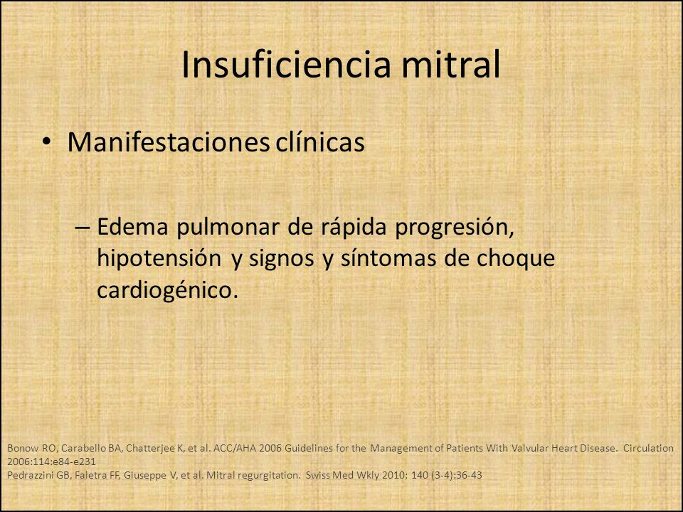 Insuficiencia mitral Manifestaciones clínicas