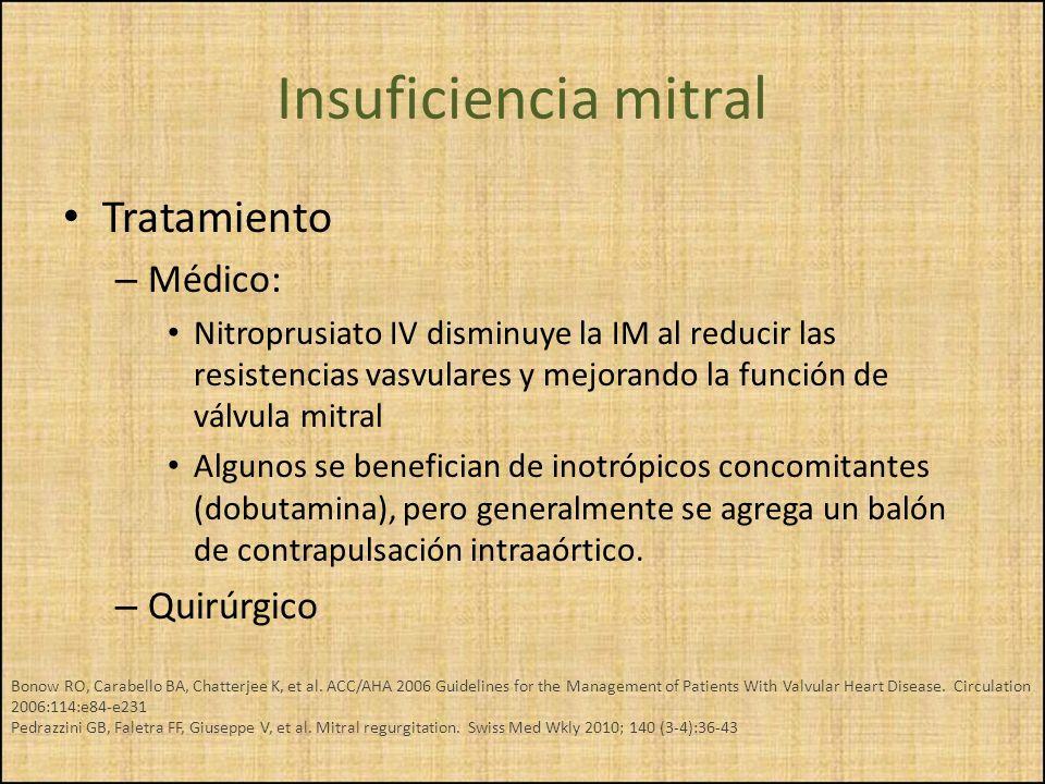 Insuficiencia mitral Tratamiento Médico: Quirúrgico