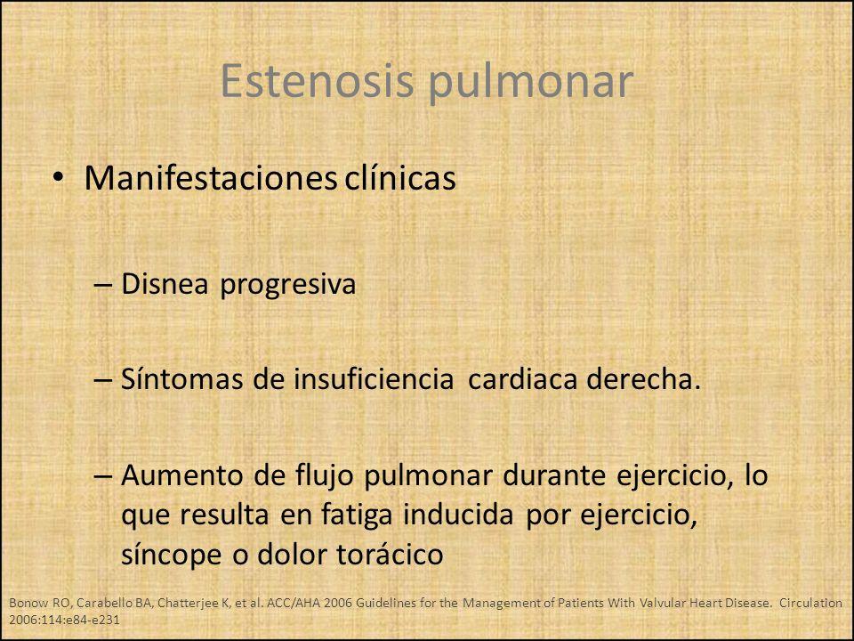 Estenosis pulmonar Manifestaciones clínicas Disnea progresiva