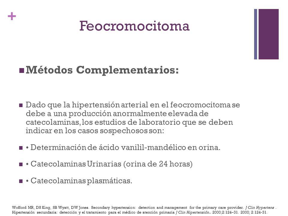 Feocromocitoma Métodos Complementarios: