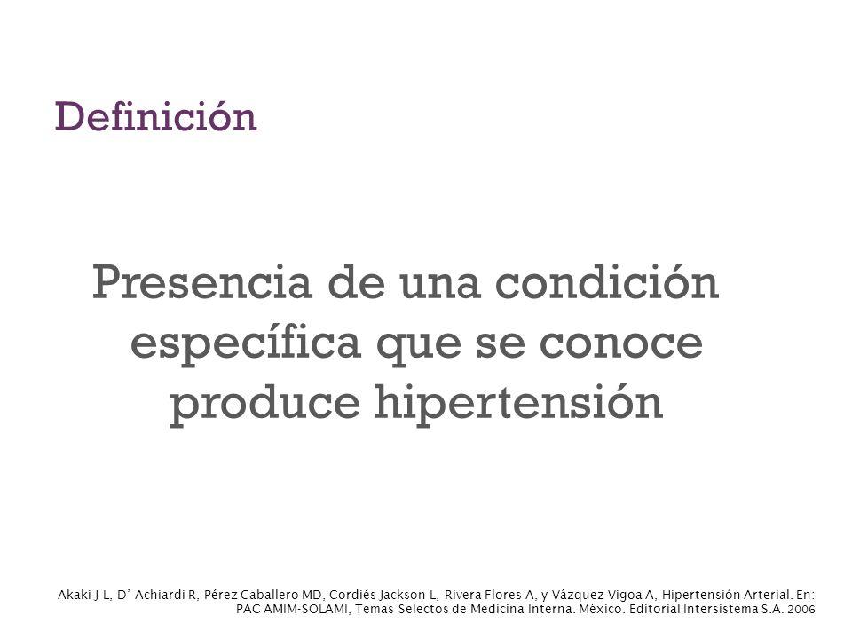 Definición Presencia de una condición específica que se conoce produce hipertensión.