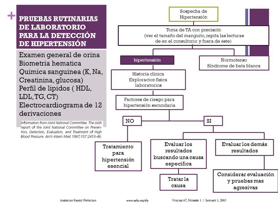 PRUEBAS RUTINARIAS DE LABORATORIO PARA LA DETECCIÓN DE HIPERTENSIÓN