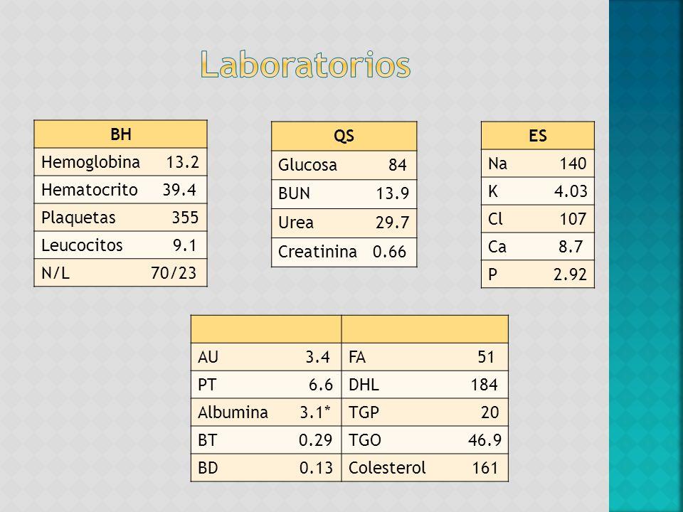 Laboratorios BH Hemoglobina 13.2 Hematocrito 39.4 Plaquetas 355