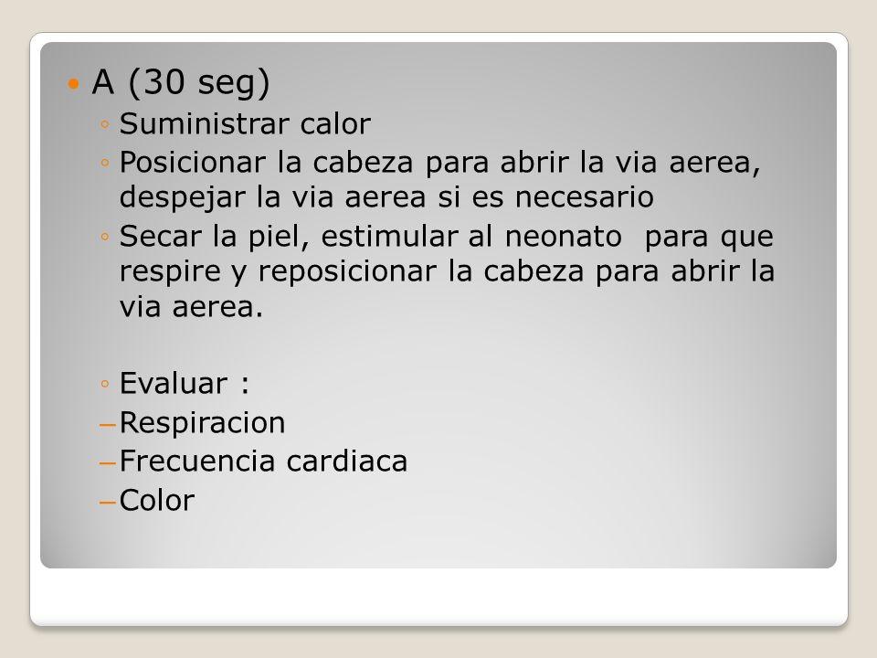 A (30 seg) Suministrar calor