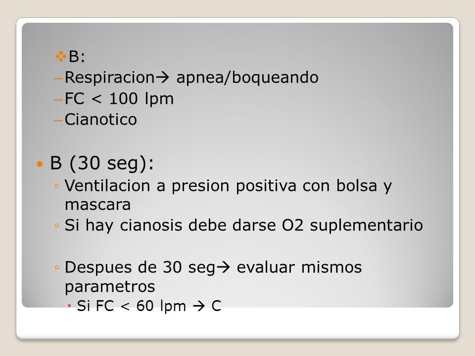 B (30 seg): B: Respiracion apnea/boqueando FC < 100 lpm Cianotico