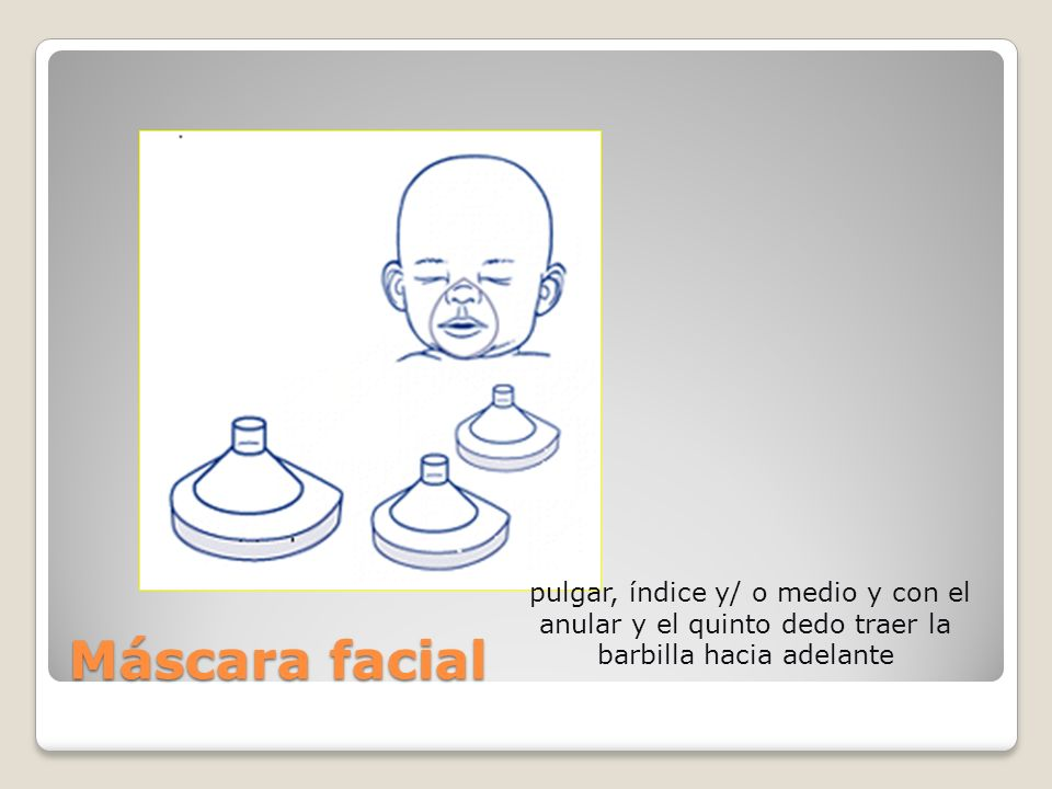 Máscara facial pulgar, índice y/ o medio y con el anular y el quinto dedo traer la barbilla hacia adelante.