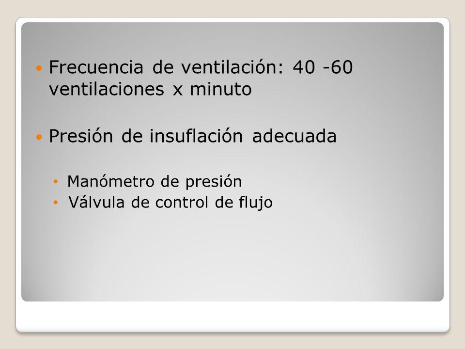 Frecuencia de ventilación: 40 -60 ventilaciones x minuto