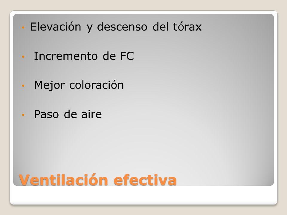 Ventilación efectiva Elevación y descenso del tórax Incremento de FC