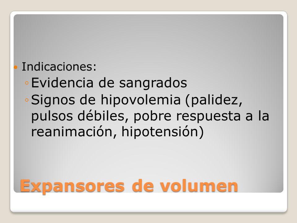 Expansores de volumen Evidencia de sangrados