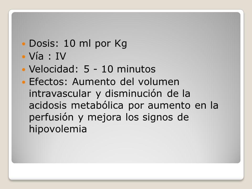 Dosis: 10 ml por Kg Vía : IV. Velocidad: 5 - 10 minutos.