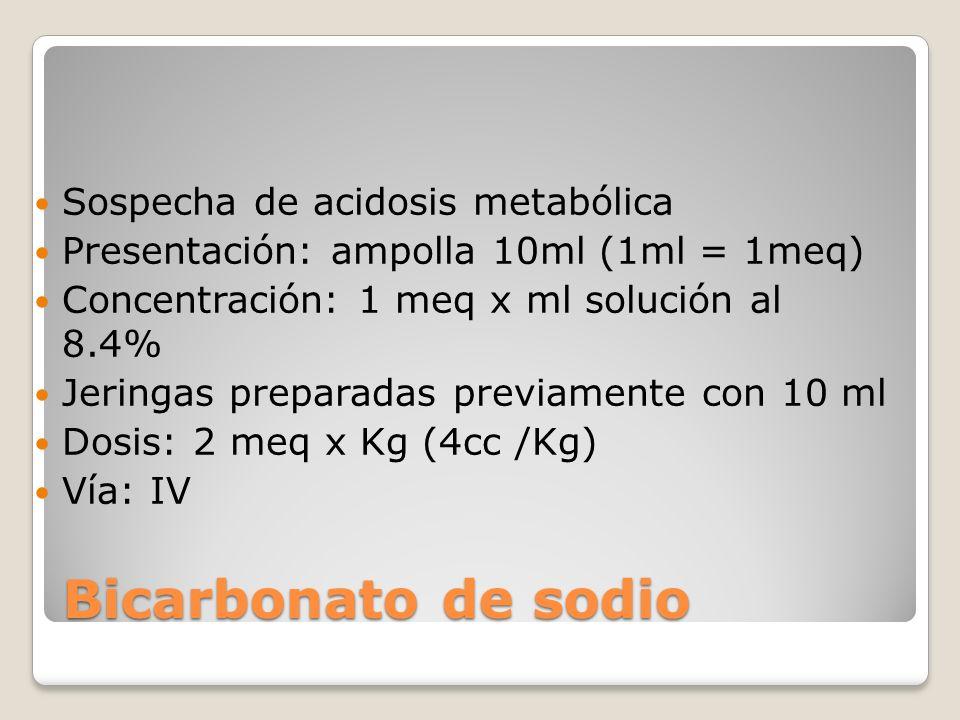 Bicarbonato de sodio Sospecha de acidosis metabólica