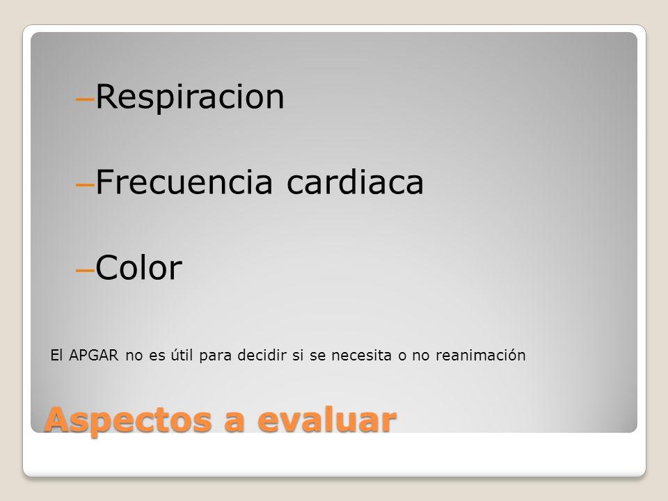 Respiracion Frecuencia cardiaca Color Aspectos a evaluar