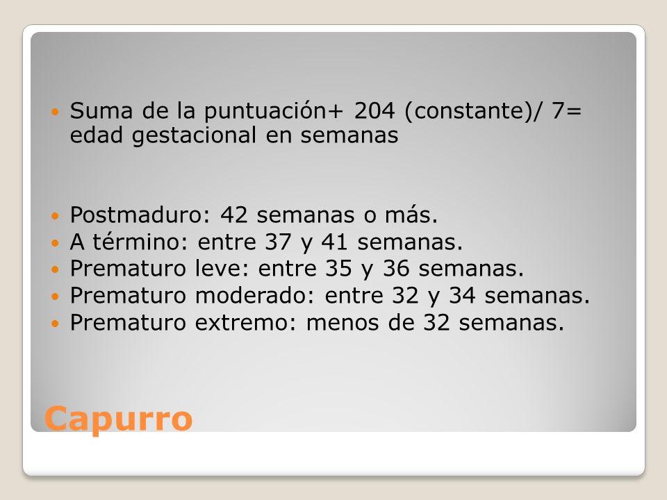 Suma de la puntuación+ 204 (constante)/ 7= edad gestacional en semanas