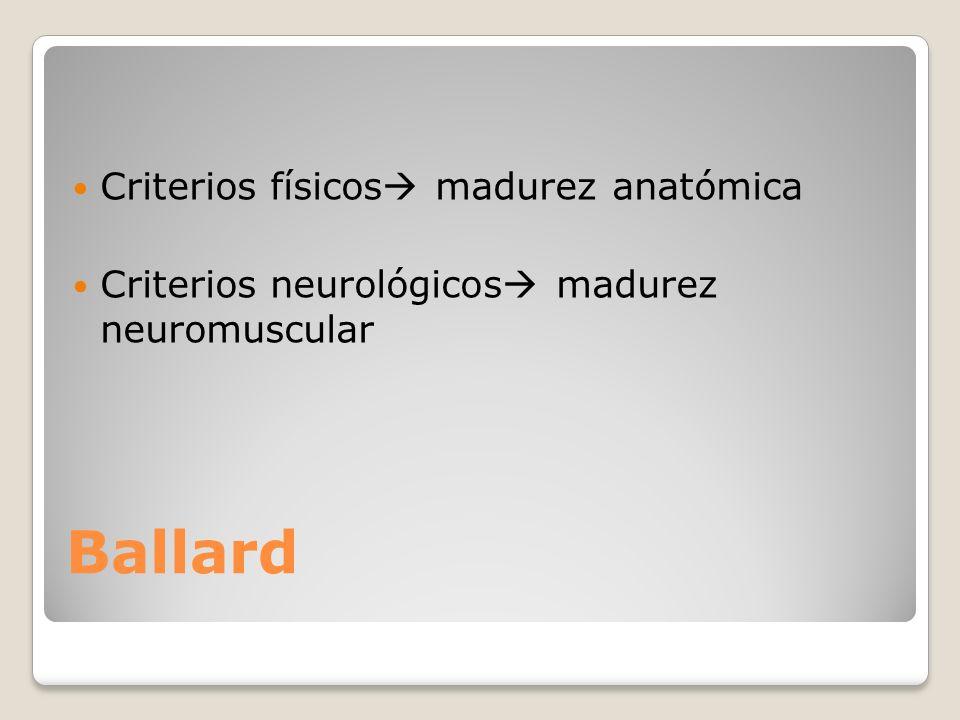 Ballard Criterios físicos madurez anatómica