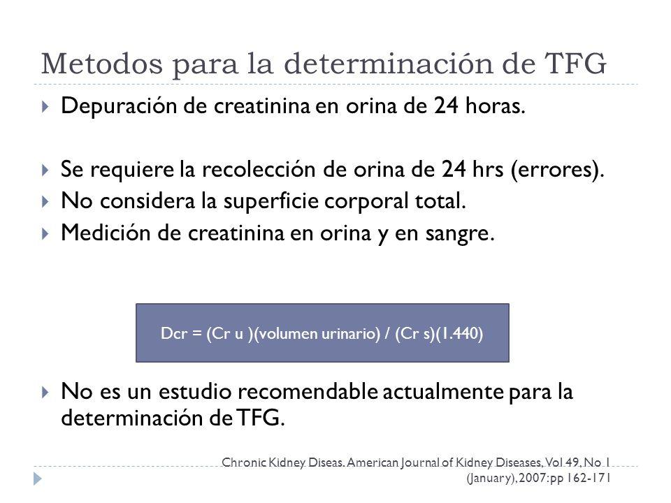 Metodos para la determinación de TFG