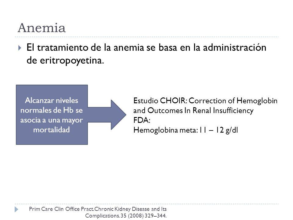 Alcanzar niveles normales de Hb se asocia a una mayor mortalidad