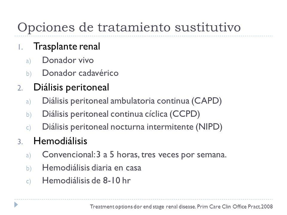 Opciones de tratamiento sustitutivo