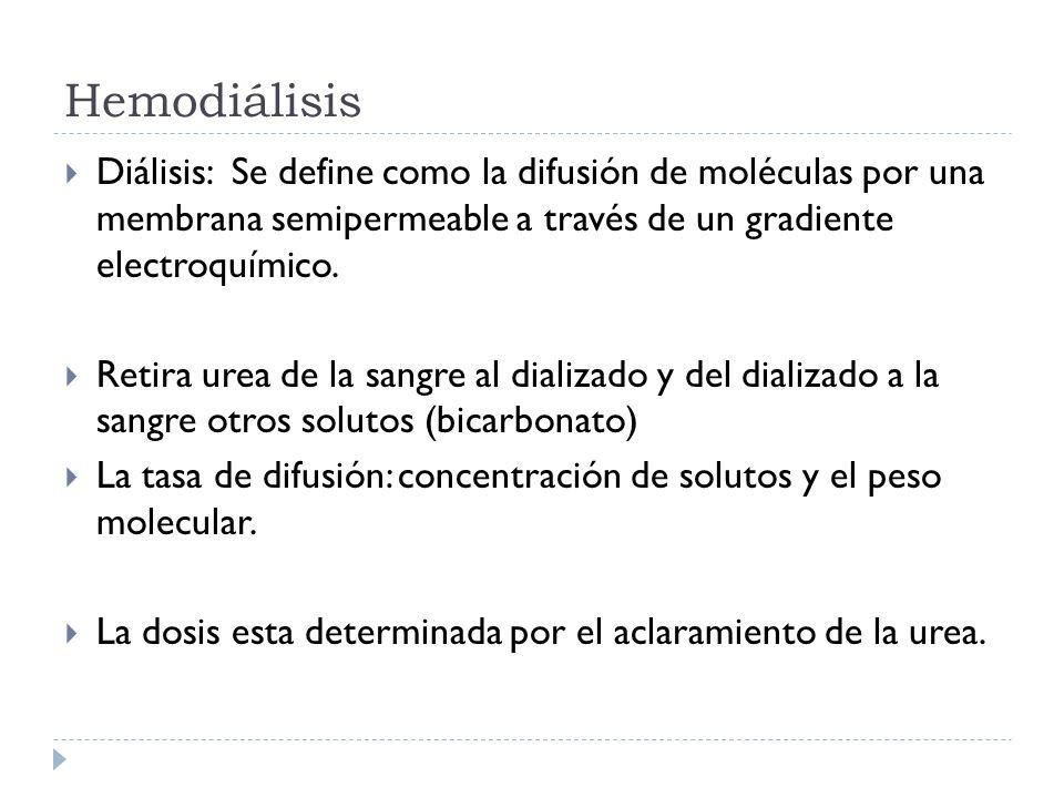 Hemodiálisis Diálisis: Se define como la difusión de moléculas por una membrana semipermeable a través de un gradiente electroquímico.