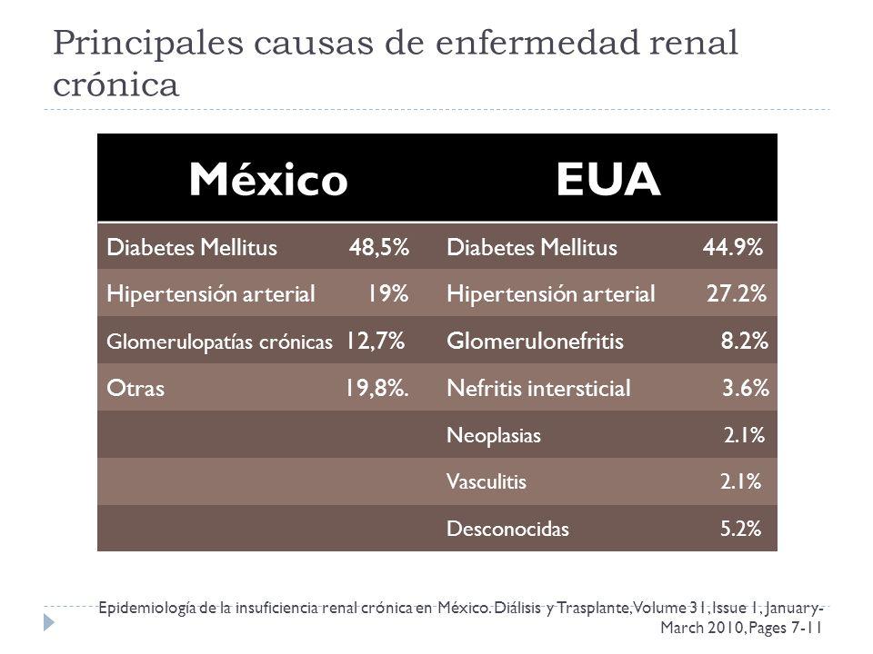 Principales causas de enfermedad renal crónica