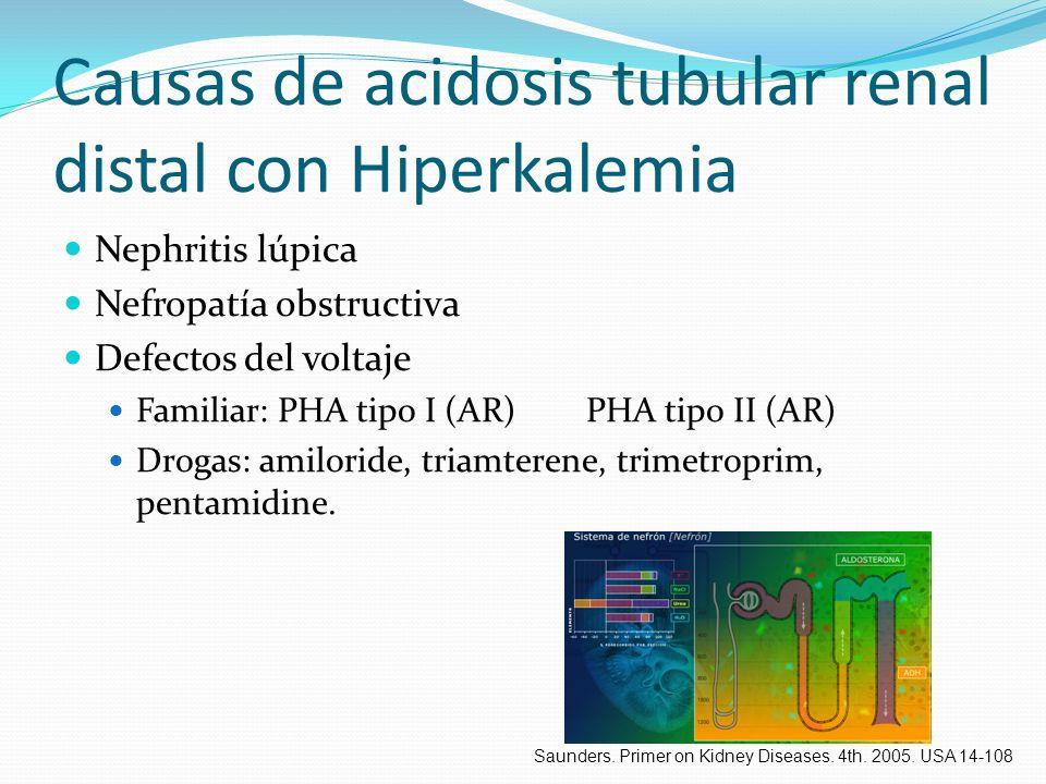 Causas de acidosis tubular renal distal con Hiperkalemia