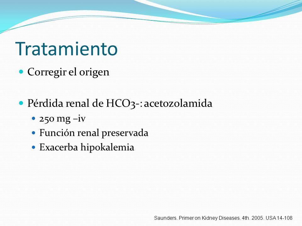 Tratamiento Corregir el origen Pérdida renal de HCO3-: acetozolamida