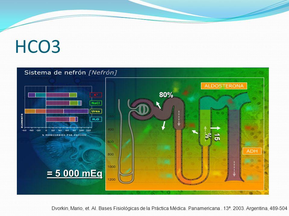 HCO380% 15% = 5 000 mEq.Dvorkin, Mario, et. Al. Bases Fisiológicas de la Práctica Médica.