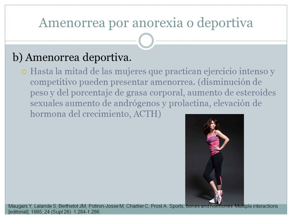 Amenorrea por anorexia o deportiva