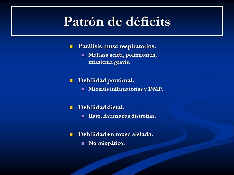 Patrón de déficits Parálisis musc respiratorios. Debilidad proximal.