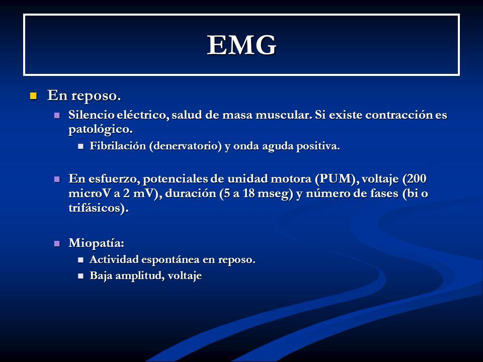 EMG En reposo. Silencio eléctrico, salud de masa muscular. Si existe contracción es patológico. Fibrilación (denervatorio) y onda aguda positiva.
