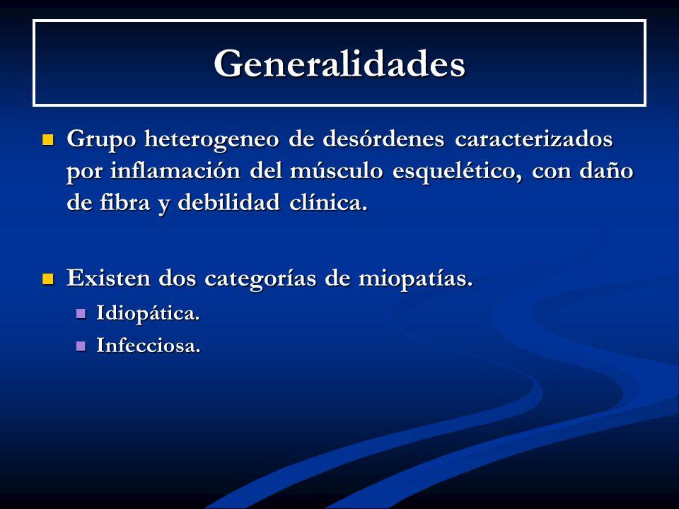 GeneralidadesGrupo heterogeneo de desórdenes caracterizados por inflamación del músculo esquelético, con daño de fibra y debilidad clínica.
