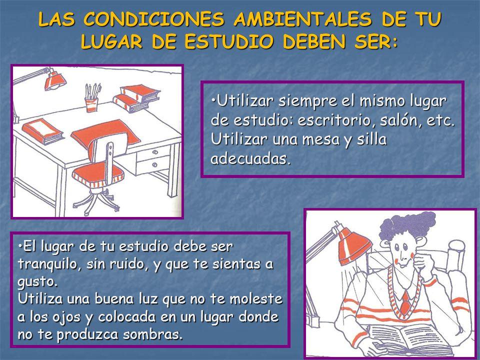 LAS CONDICIONES AMBIENTALES DE TU LUGAR DE ESTUDIO DEBEN SER: