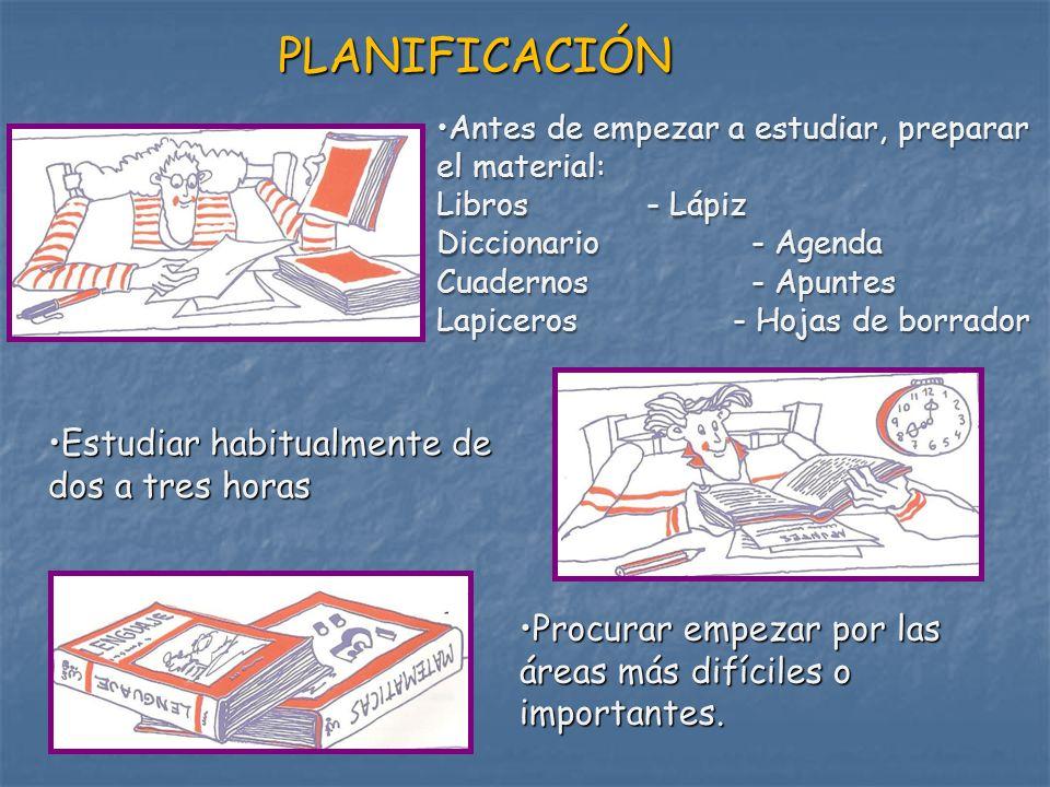 PLANIFICACIÓN Estudiar habitualmente de dos a tres horas