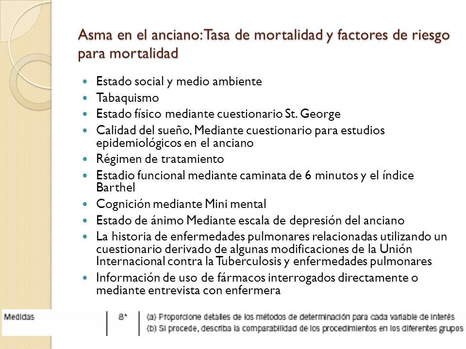 Asma en el anciano: Tasa de mortalidad y factores de riesgo para mortalidad