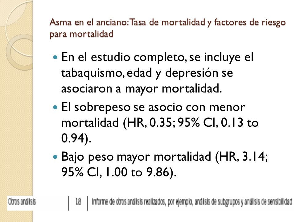 Bajo peso mayor mortalidad (HR, 3.14; 95% CI, 1.00 to 9.86).