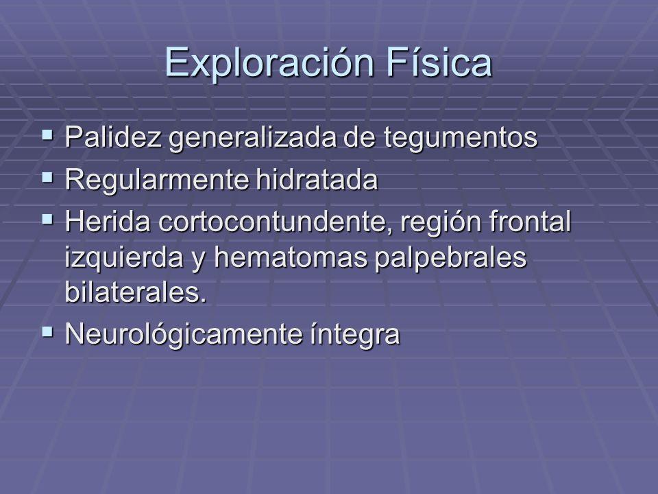 Exploración Física Palidez generalizada de tegumentos