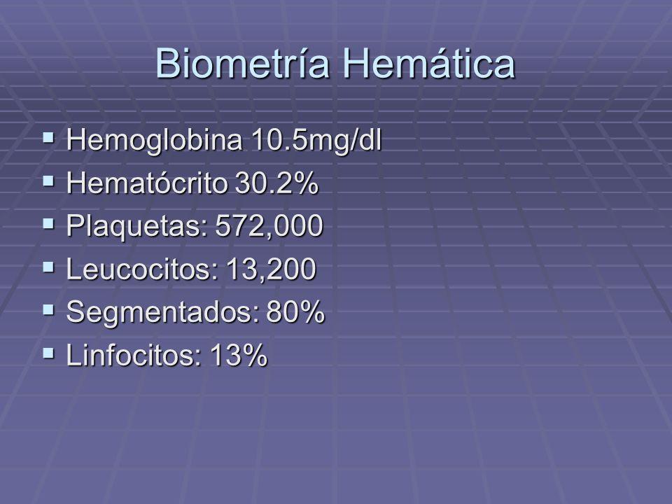 Biometría Hemática Hemoglobina 10.5mg/dl Hematócrito 30.2%