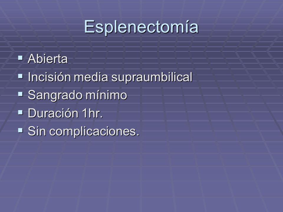 Esplenectomía Abierta Incisión media supraumbilical Sangrado mínimo