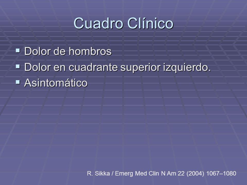 Cuadro Clínico Dolor de hombros Dolor en cuadrante superior izquierdo.