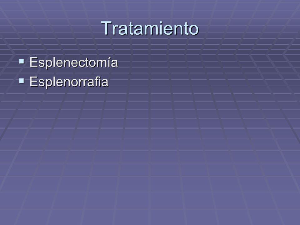 Tratamiento Esplenectomía Esplenorrafia