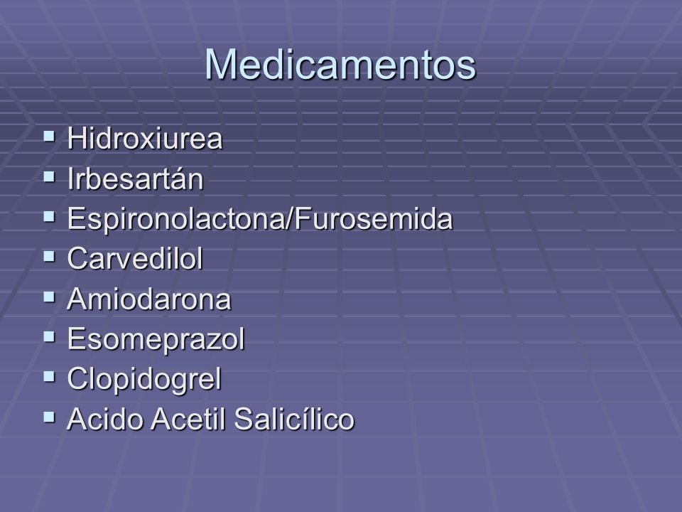 Medicamentos Hidroxiurea Irbesartán Espironolactona/Furosemida