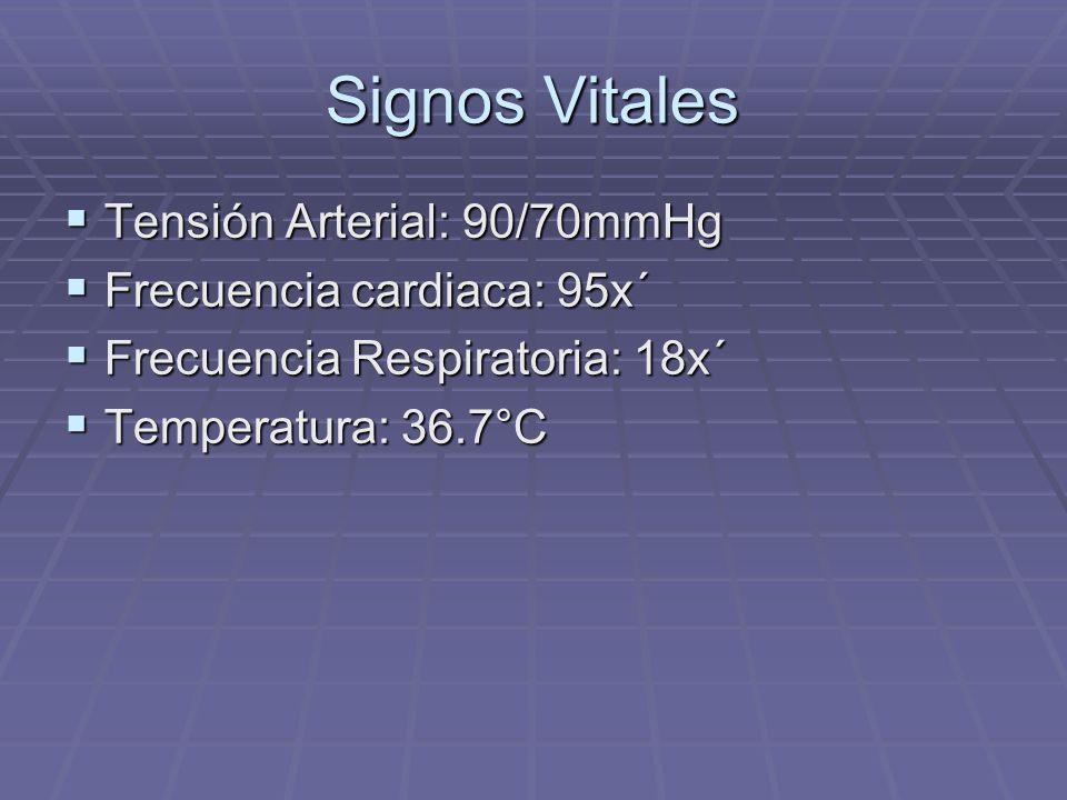 Signos Vitales Tensión Arterial: 90/70mmHg Frecuencia cardiaca: 95x´