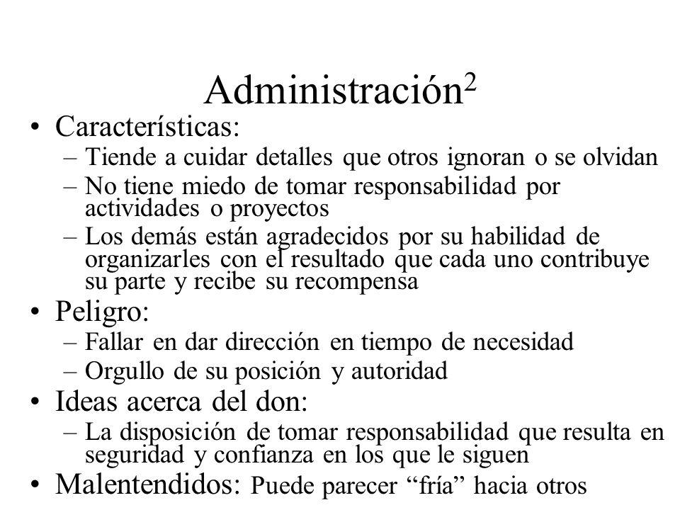 Administración2 Características: Peligro: Ideas acerca del don:
