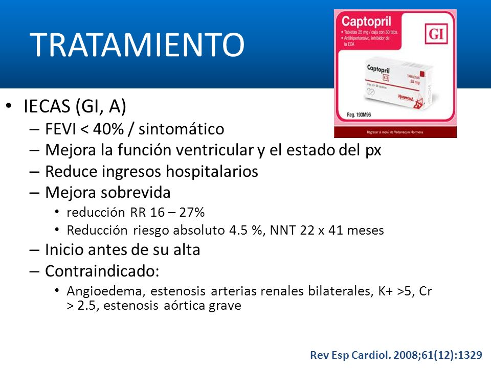 TRATAMIENTO IECAS (GI, A) FEVI < 40% / sintomático