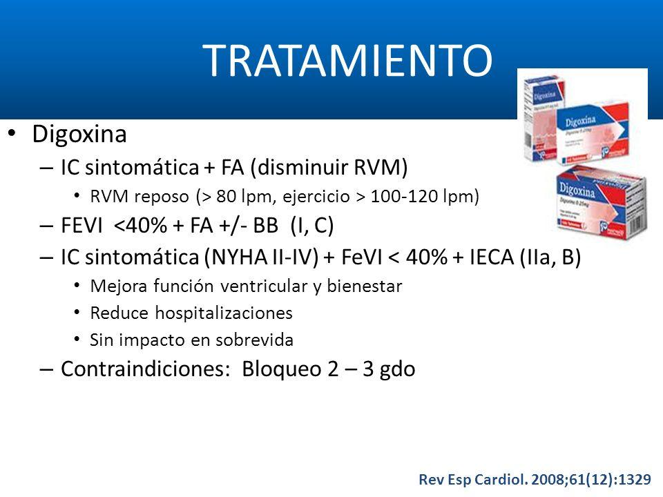 TRATAMIENTO Digoxina IC sintomática + FA (disminuir RVM)