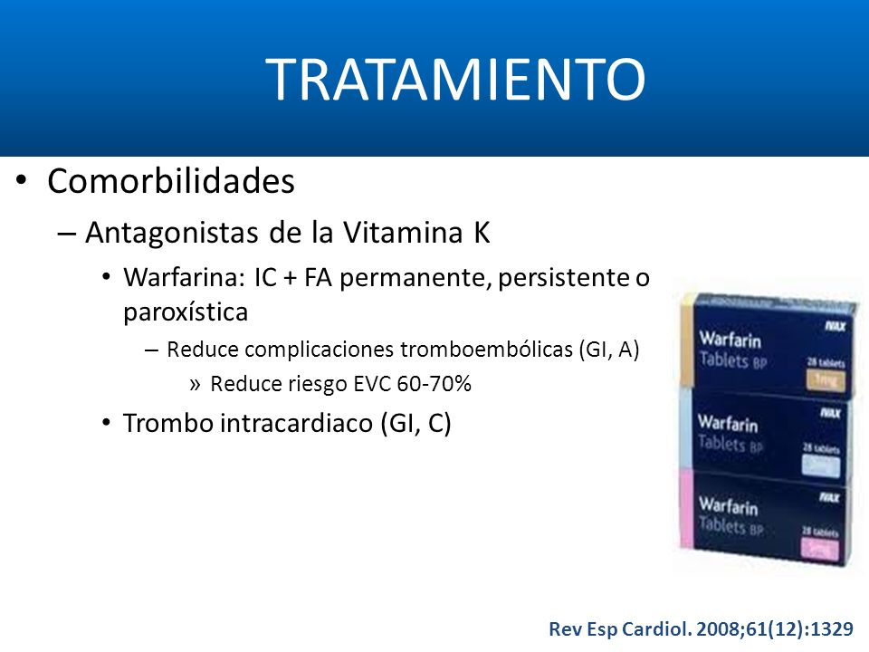 TRATAMIENTO Comorbilidades Antagonistas de la Vitamina K