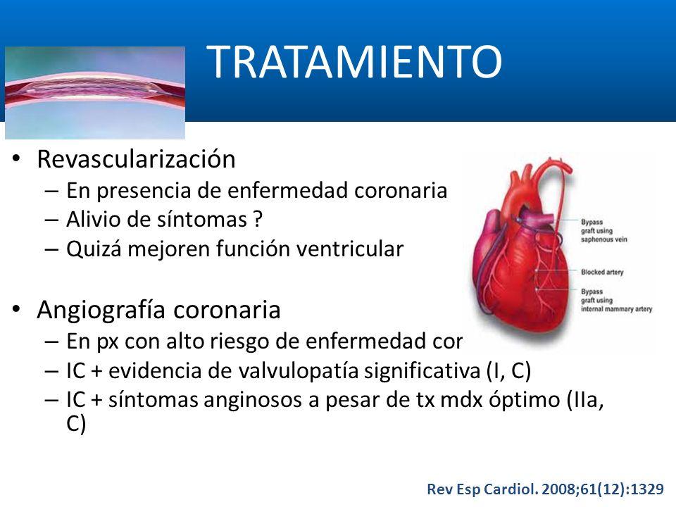 TRATAMIENTO Revascularización Angiografía coronaria