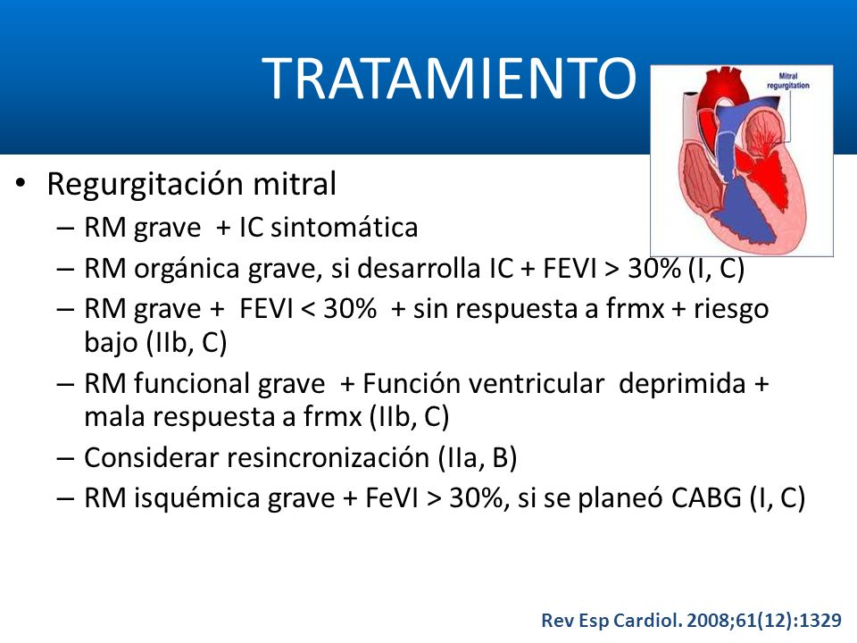 TRATAMIENTO Regurgitación mitral RM grave + IC sintomática