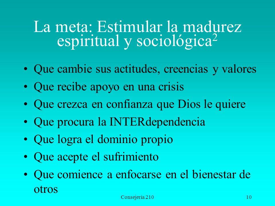 La meta: Estimular la madurez espiritual y sociológica2