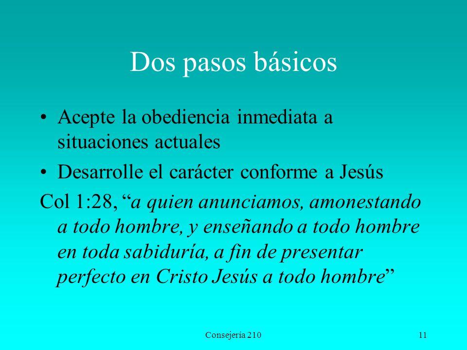 Dos pasos básicos Acepte la obediencia inmediata a situaciones actuales. Desarrolle el carácter conforme a Jesús.