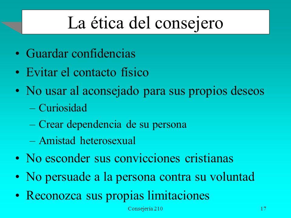 La ética del consejero Guardar confidencias Evitar el contacto físico